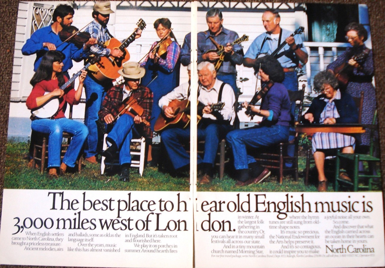 Primary image for North Carolina 2 Page Color Print Ad The Best Place To Hear Old Country Music