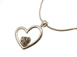 Fashion Pendant silver coloured metal chain Heart Jewellery 11721 - $15.44