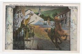 Paul Revere's Ride Art Massachusetts 1920c postcard - $5.45