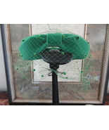 Vintage Kelly Green Cocktail Hat With Embellished Veil Union Made In USA   - $24.00