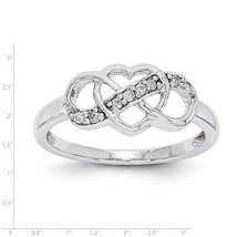 STERLING SILVER POLISHED PRONG SET DIAMOND HEART & INFINTIY RING - SIZE 8 - £90.62 GBP