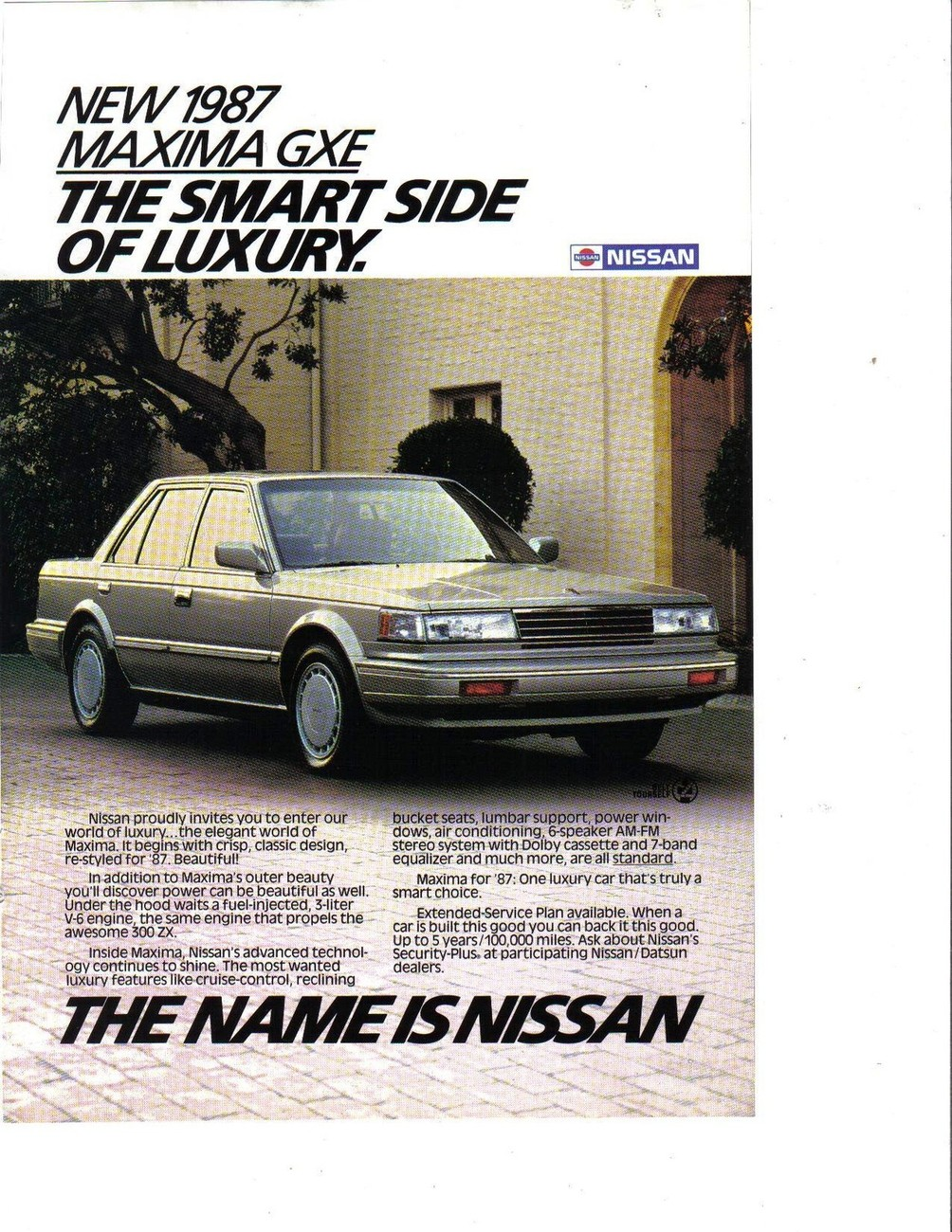 Primary image for 1987 Nissan Maxima GXE Full Page Color Print Ad The Smart Side Of Luxury