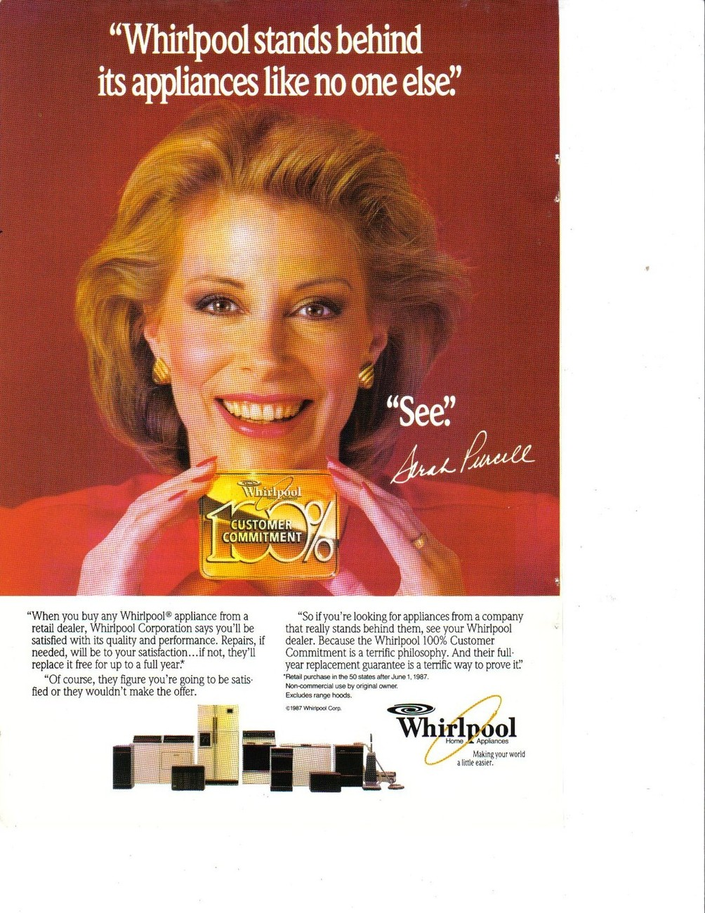 Primary image for Sarah Purcell 1987 Whirlpool Advertisement Full Page Color Collectible NM