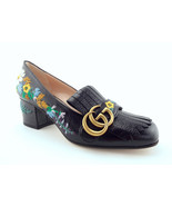New GUCCI Size 6 GG MARMONT Black Embroidered Fringe Heels Pumps Shoes 36 - $679.00