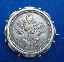 Round English Silver Pin with Gold Leaves (#J1672) - $95.00