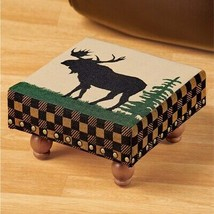 Rustic Moose Tapestry Footstool Green Checked Lodge Log Cabin Foot Stool... - $25.88