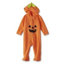 NWT Small Wonders Boys Girls Unisex Hooded Pajamas Pumpkin Fleece 3-6 6-... - $11.99