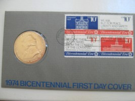 1974 Bicentennial First Day Cover Commemorative Stamp and Medal with John Adams - $11.88