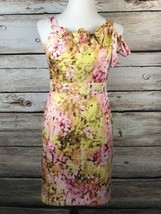 Ann Taylor LOFT Womens Dress Size 2 Sleeveless Pink Yellow Floral Lined ... - $28.04