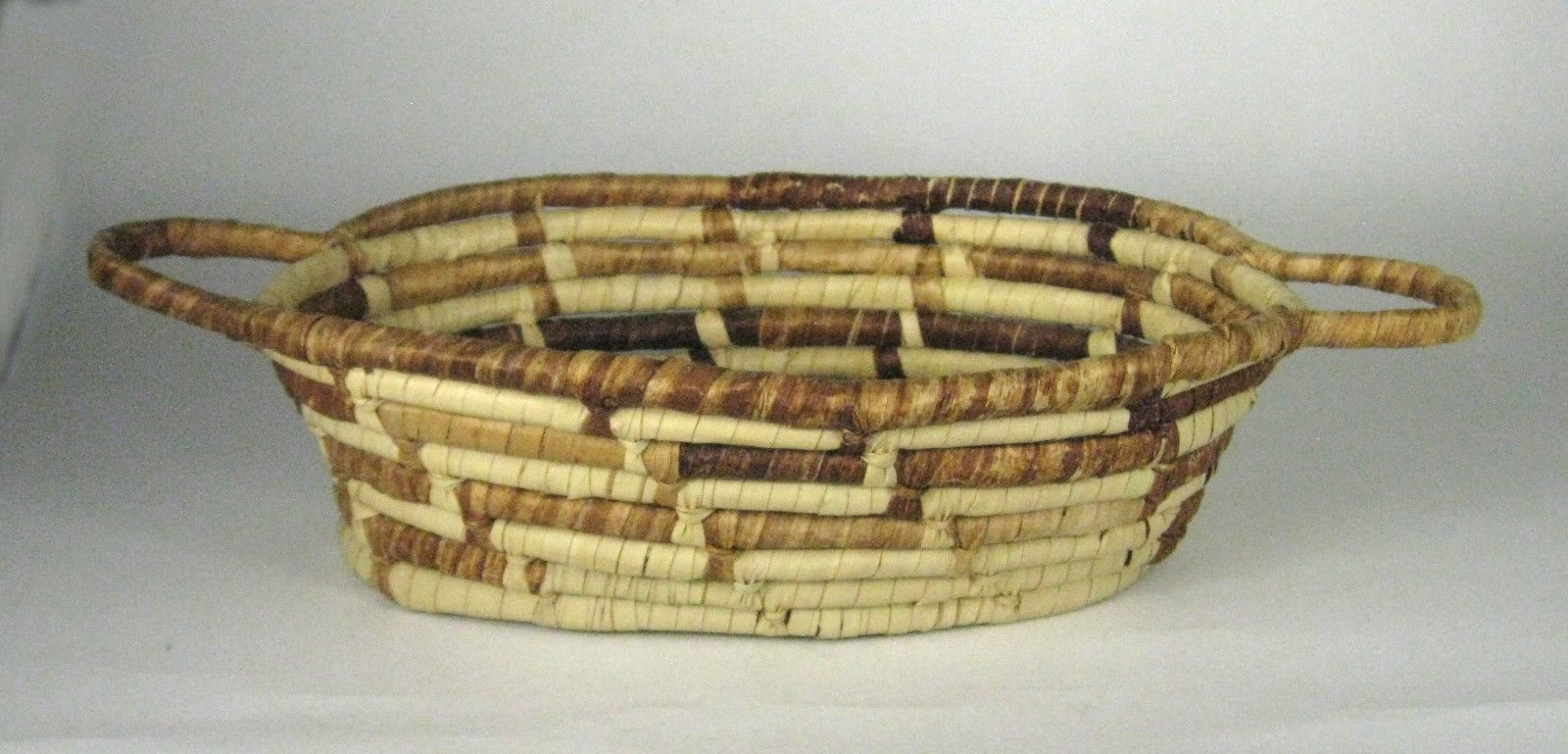 Coil Basket Hand Woven Grass Brown Tan Size 16.5 inches Coiled 2 Handles