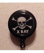 Xray Skull Badge Reel Id Holder Lanyard Black Alligator Clip Handmade New - $10.99