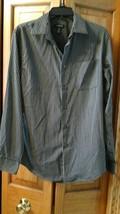 VanHeusen Men's  long sleeve shirt Black and Gray  14 14 1/2 - $4.99