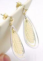 Boucles D'Oreilles Pendantes or Jaune Blanc 750 18K, Té Goutte, Fabriqué Italie image 3
