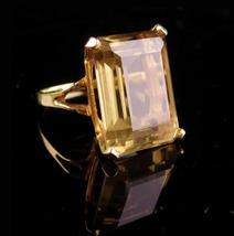 HUGE 14K GOLD ring - 17ct Sherry Topaz ring - big emerald cut Size 7 3/4 - $1,495.00