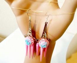 blue rose pink chandelier earrings pastel colors flower long dangles spike charm - $6.99