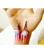 blue rose pink chandelier earrings pastel colors flower long dangles spi... - $6.99
