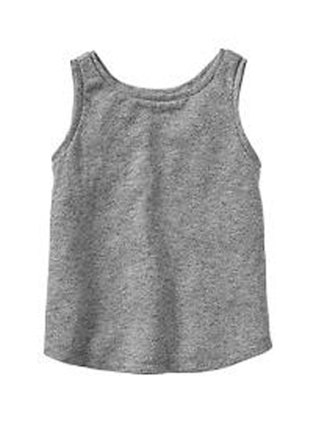 GAP Kids Girls Tank Top Tee 8 10 Marled Slub Sleeveless Grey Rugged Knit New
