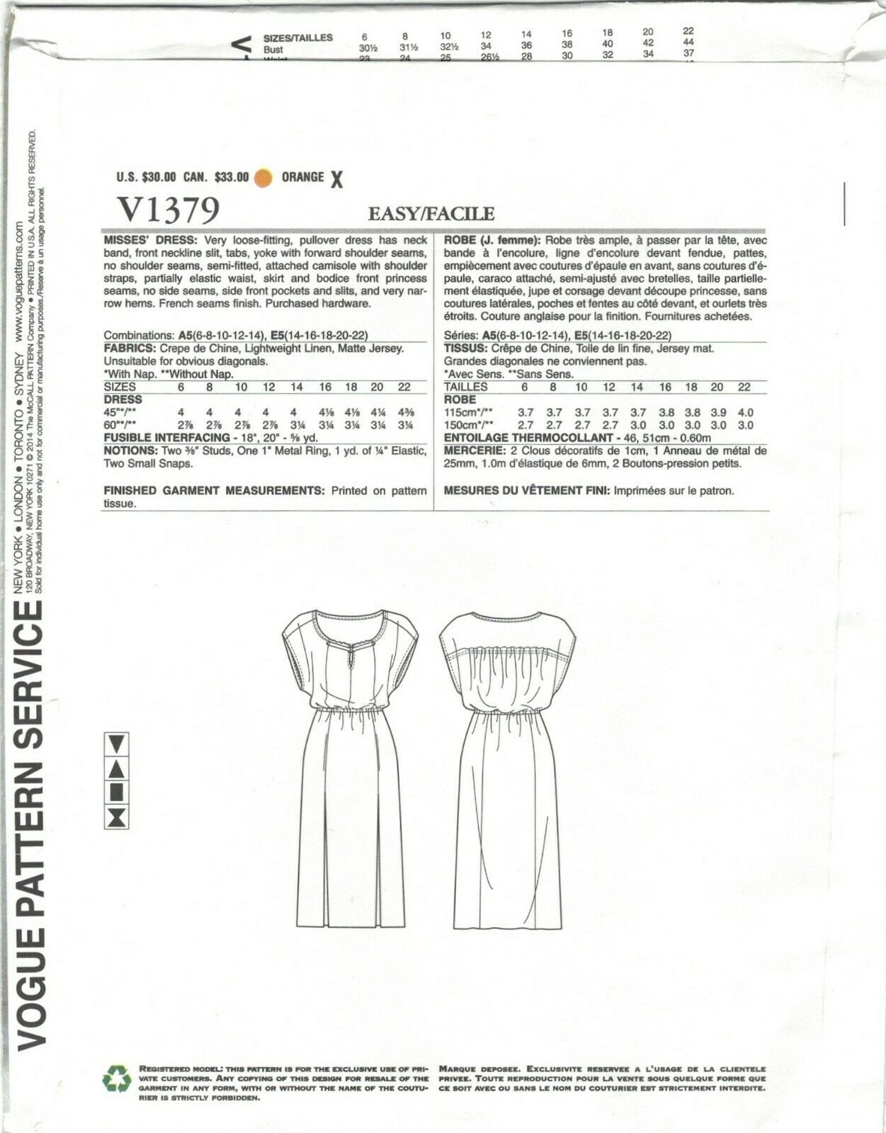 Vogue 1379 Tracy Reese Boho Blouson Dress Side Slits Pattern Choose Size Uncut