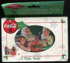 1999 Coca Cola Nostalgia Christmas Playing Cards 2 Decks New in Tin Sant... - $2.00