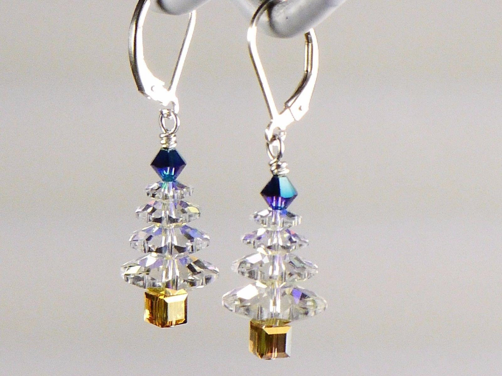 Christmas Tree  Earrings/Blue Gold / made w/Swarovski Crystal Elements / .925
