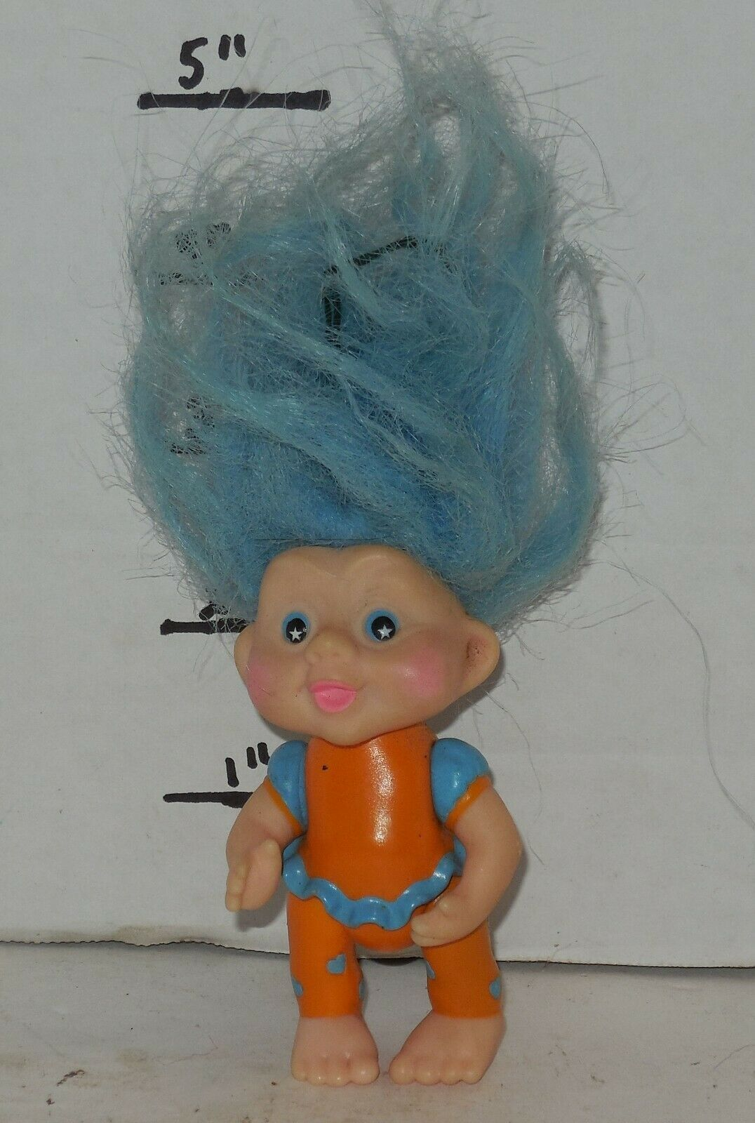 "Primary image for Vintage My Lucky Russ Berrie Troll 4"" Poseable Figure blue Hair"