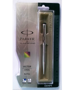 Parker Vector Steel  Ball Pen With Stainless Steel Clip - $19.80