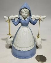 Porcelain Dutch Girl Milk Maid Bell Blue White Apron Milk Bucket Clapper... - $21.95