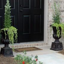 Planter Urn Cast Stone Pedestal Charcoal Lightweight Resin Outdoor Garde... - $2.123,85 MXN