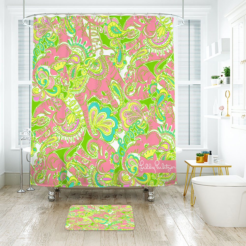 Primary image for Flower Lilly Chin Chin Shower Curtain Waterproof & Bath Mat For Bathroom