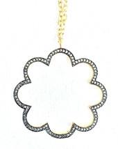 """Atelier Mon 16"""" + 2"""" Gold Plated Pave Set Cubic Zirconia Flower Pendant Necklace"""
