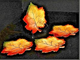 Hand Painted Leaf Shaped Serving / Candy Dish with Handle AA19-1383 Vintage image 3