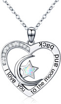 Cuoka I Love You to The Moon and Back Necklace Opal Moon and Star Heart ... - $82.97