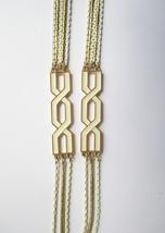 Monet Long Gold Tone & White Enamel Multichain Runway Necklace. c. 1970s - €63,46 EUR