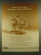 1990 Marsh & McLennan insurance Ad - Sculpture by Remington - $14.99