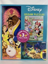 Disney Mickey Minnie Beauty and The Beast Jigsaw Puzzle 3 in 1 Pack Glue - $47.41