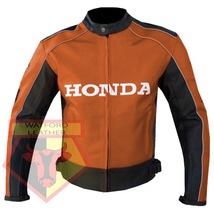 HONDA 5523 ORANGE MOTORCYCLE MOTORBIKE ARMOURED COWHIDE LEATHER JACKET F... - $194.99