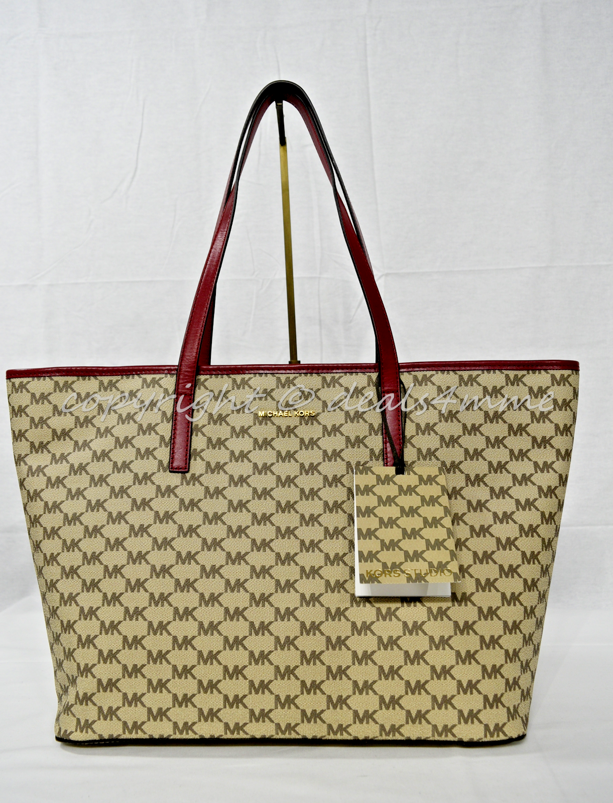 Primary image for Michael Kors Studio Heritage Signature EMRY Large Top Zip Tote. Natural Cherry