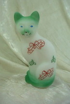 Fenton Stylized Cat White Satin Sand Carved W/Candy Canes & Holly Air Br... - $51.41