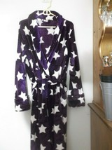 Girls Size 12/14 Faded Glory Soft Fleece Robe Purple with White Stars EUC - $19.34