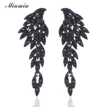 Minmin Vintage Feather Long Drop Earrings for Women Black Crystal Angel ... - $18.07