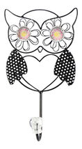 Wise Whimsical Black Owl with Pink Eyes 10 Inch Metal Wall Single Hook - $27.46