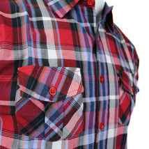 Overdrive Men's Cotton Plaid Button Up Casual Short Sleeve Slim Fit Dress Shirt image 8