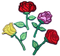 Rose Flower Embroidered Patches Iron Sew On Jeans Jacket Badge Dress App... - $2.88+