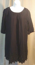 Old Navy Dress Womens L Black Lacey Keyhole Gathered Scoop Neck Straight... - $12.86