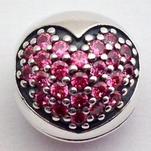 Authentic Pandora Love of My Life Fancy Pink CZ 925 Silver Charm 791053C... - $52.24