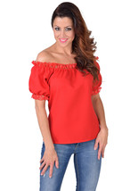 Off the Shoulder Blouse - Oktoberfest / Gypsy / Mediterranean - RED  , XS-XXL - $24.56+