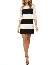 Jessica Simpson Womens size 8  12 Color Block Lace Shift Dress Black/Ivo... - £26.41 GBP
