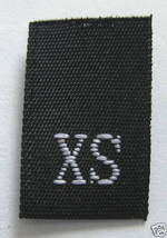 XS EXTRA SMALL CLOTHING WOVEN SIZE TAGS BLACK L... - $13.71