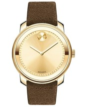 BRAND NEW MOVADO BOLD 3600449 COGNAC SUEDE STRAP GOLD DIAL MEN'S WATCH - $317.78