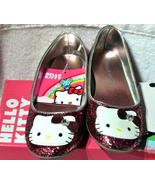 Hello Kitty Pink Glitter Shoes SZ 1 with Clear Bead Sanrio NEW Girls Flats - $20.00
